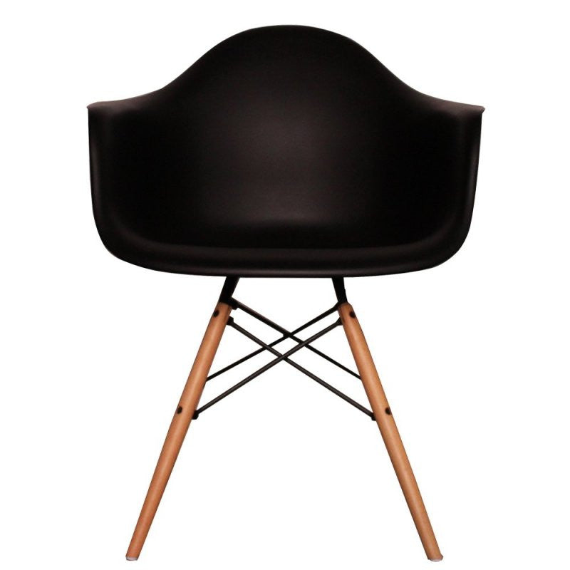 Charles Ray Eames Style DAW Arm Chair - Black