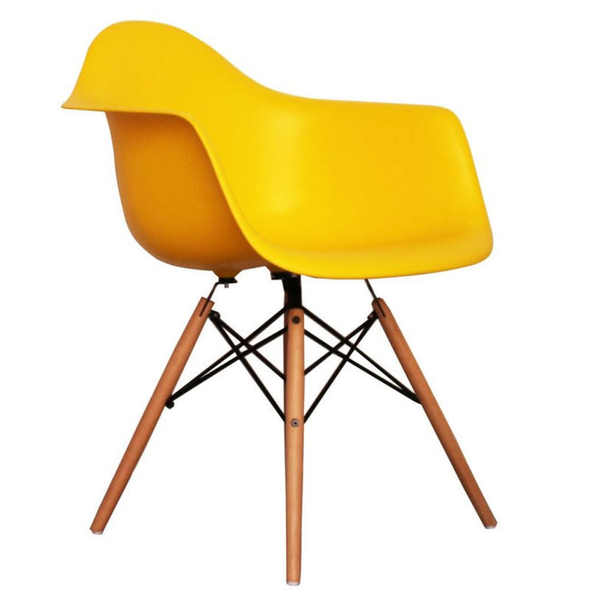 Charles Ray Eames Style DAW Arm Chair - Yellow