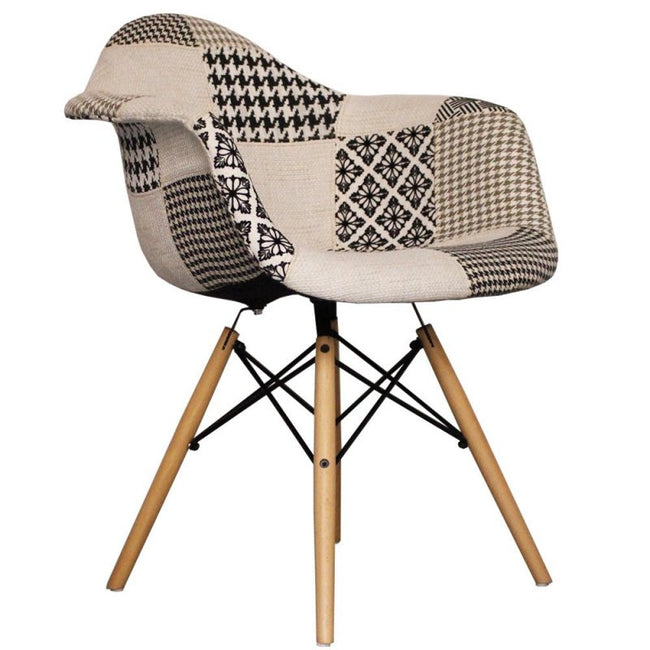 Charles Ray Eames Style DAW Chair Black/White  Patchwork Upholstery