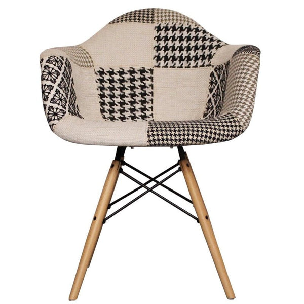 Charles Ray Eames Style Daw Chair Black White Patchwork Upholstery S Alternative Furniture