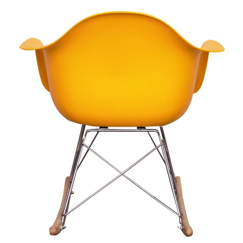 Charles Ray Eames Style RAR Rocking Chair - Yellow