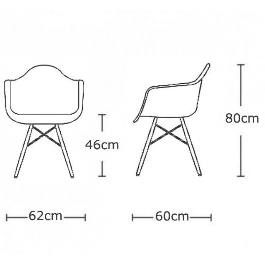 Charles Ray Eames Style DAW Arm Chair - White