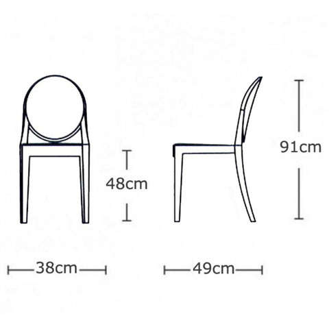 ... Philippe Starck Style Ghost Victoria Side Chair   Clear ...