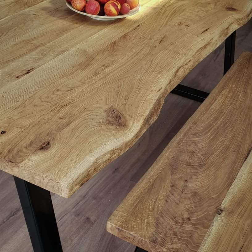 U - Frame Live Edge Oak Industrial Dining Table by Strachel A.F.