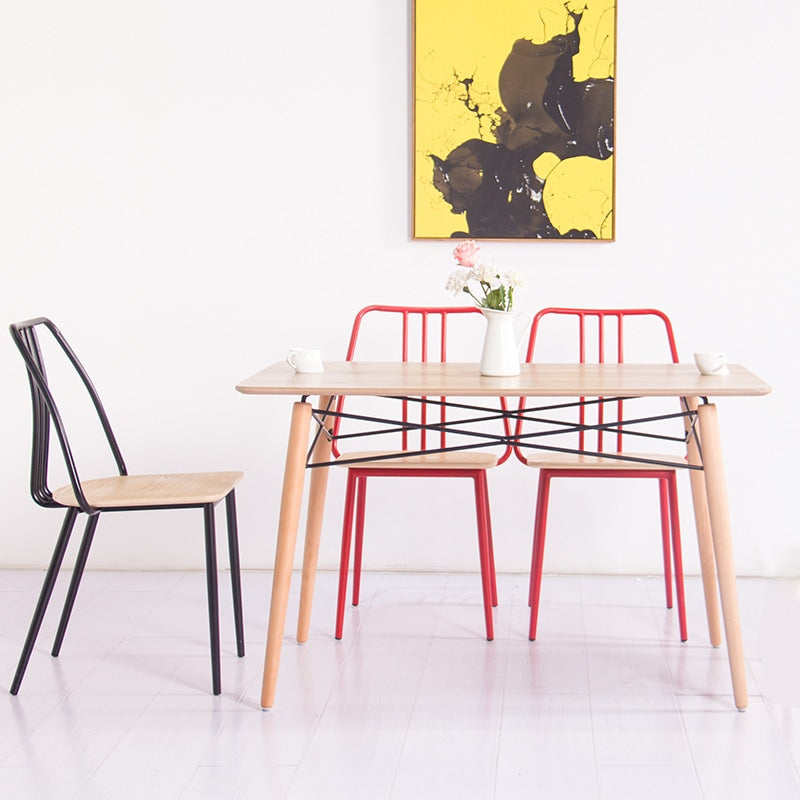 Industrial Metal Dining Chair Red / Plywood Seat