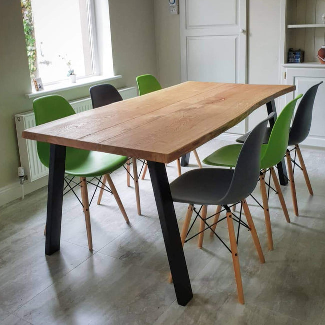 Standard  Frame Live Edge Oak Industrial Dining Table by Strachel A.F.