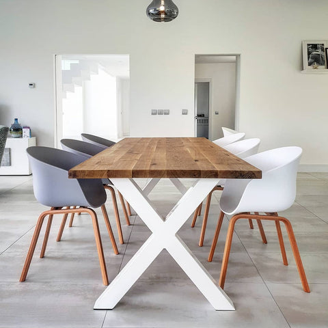 Hairpin Legs  Live Edge Oak Industrial Dining Table by Strachel A.F.