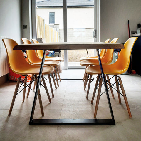Trapeze Frame Oak Dining Table by Strachel A.F.