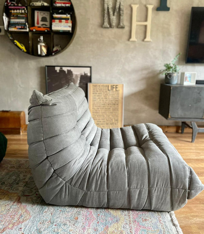 Togo Style Sofa 1 Seater Mid Grey