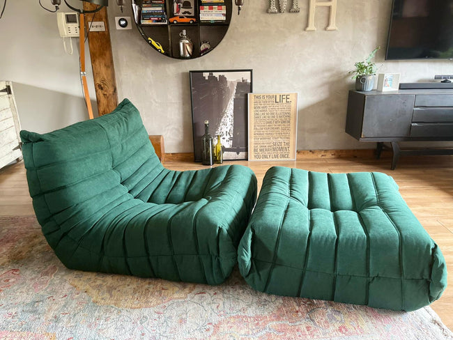 Togo Style Sofa 1 Seater Green With Footstool