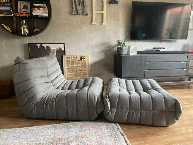 Togo Style Sofa 1 Seater Mid Grey With Footstool