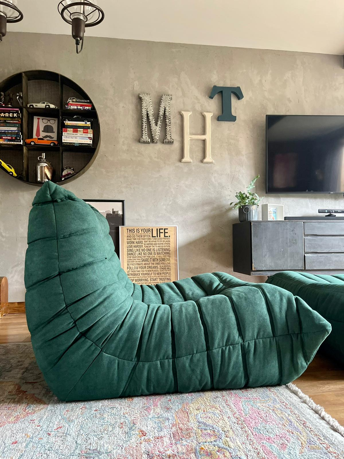 Togo Style Sofa 1 Seater Green