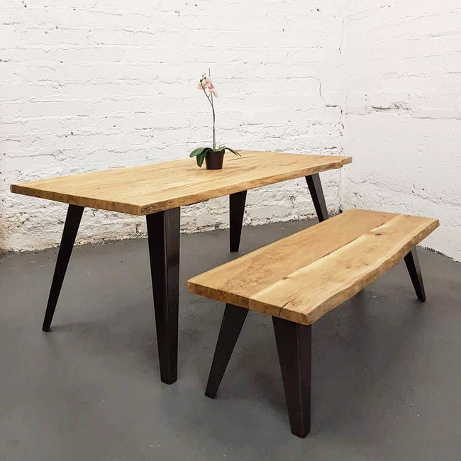 Spiky Frame Live Edge Oak Industrial Dining Table / Bench by Strachel A.F.