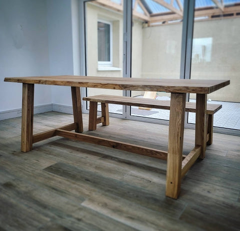 U-Frame Pine Wood Dining Table / Raw Metal Frame by Strachel A.F.