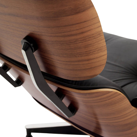 eames style lounge chair and ottoman walnut u0026 black leather