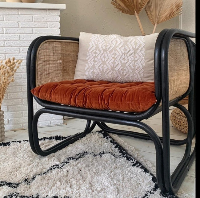 Rattan & Cane Lounge Chair Black