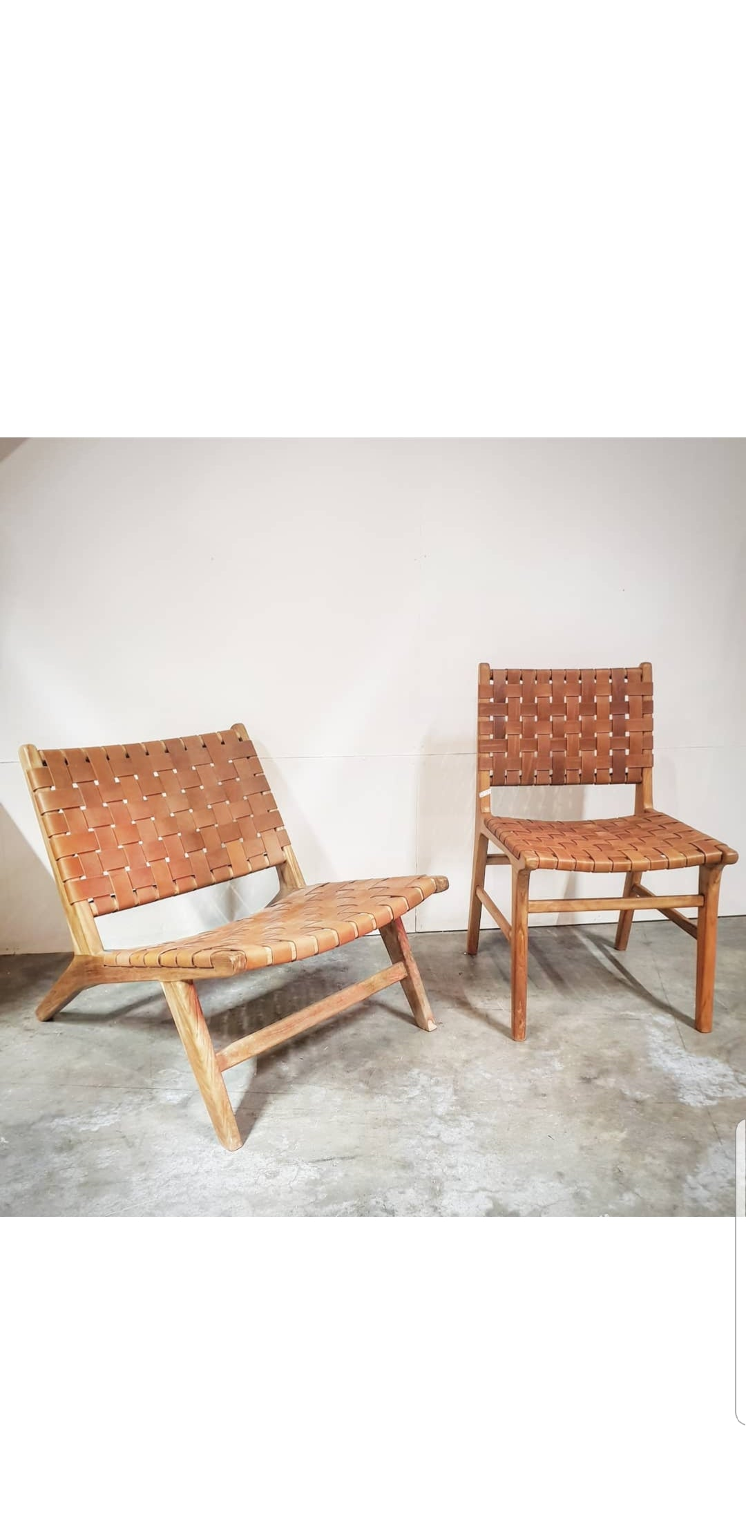 Teak Wood Crossed Stripe Leather Eazy Lounge Chair