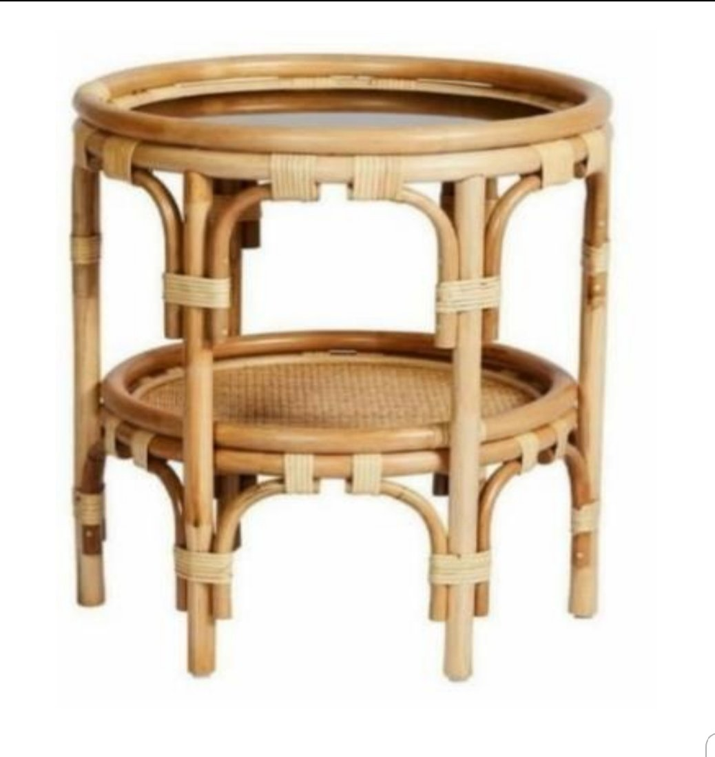 Rattan Glass Side Table