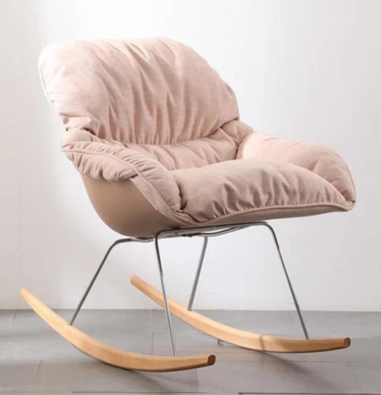 Fabric Soft Seat Rocking Chair Pastel Pink