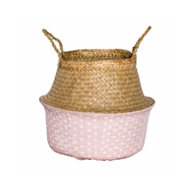 Seagrass Basket Natural/Pink