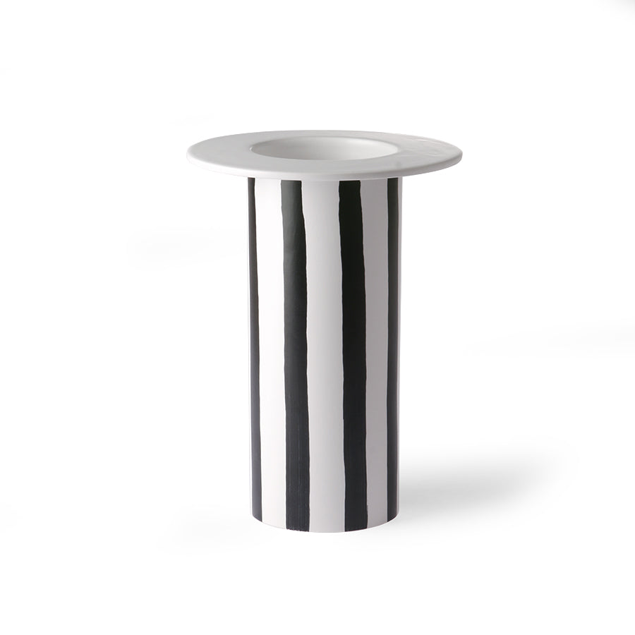 Ceramic Vase Black/White Striped