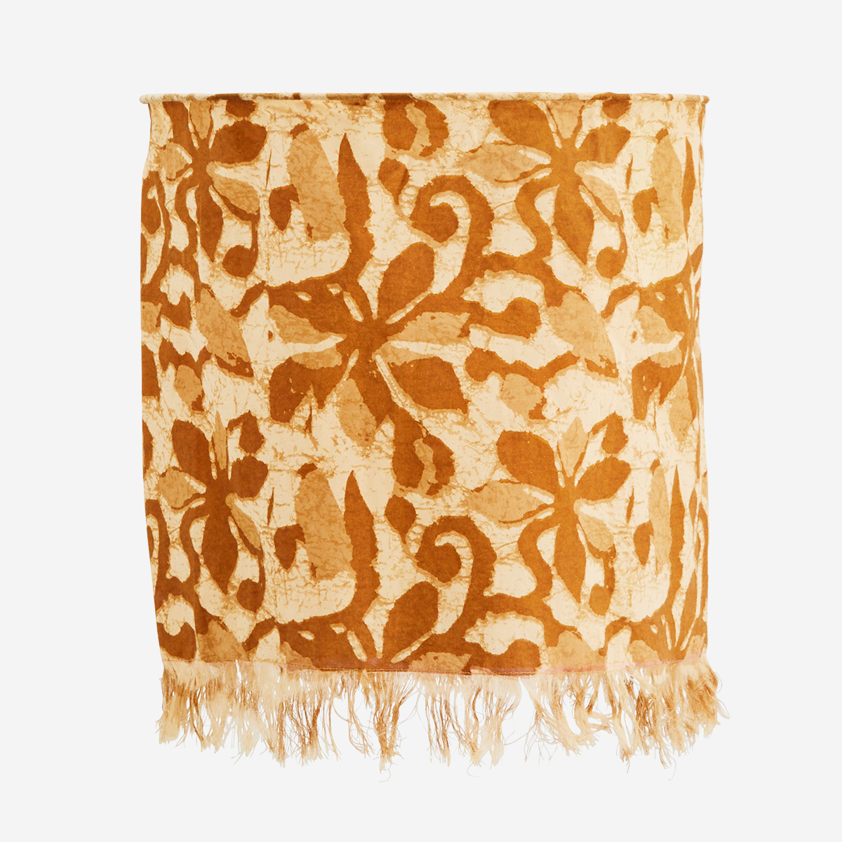 Floral Block Print Cotton Lampshade Beige/Brown - Madam Stoltz