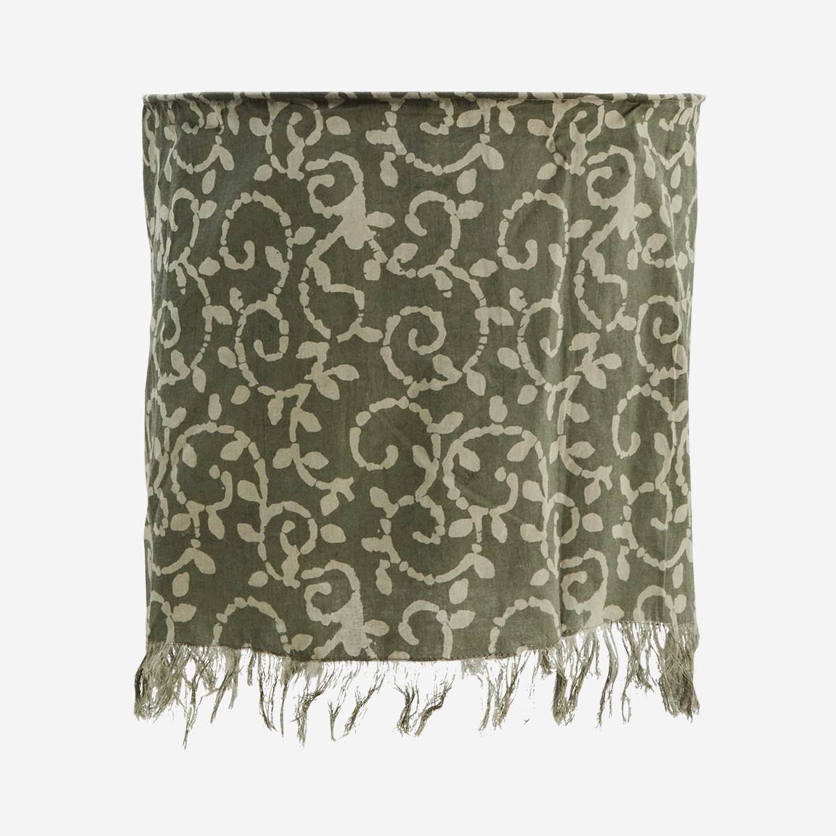 Floral Block Print Cotton Lampshade Petrol, Dusty Grey - Madam Stoltz