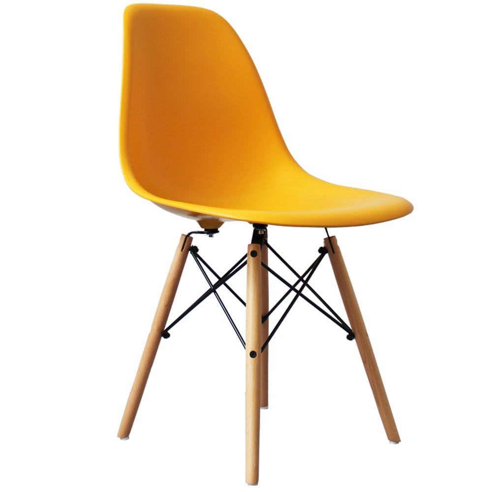 Charles Ray Eames Style DSW Side Chair  Yellow - Natural Legs