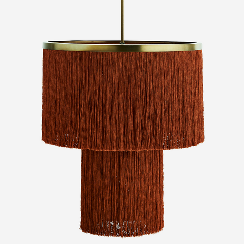 Velvet Ceiling Lamp with Cane Natural / Charcoal - Madam Stoltz
