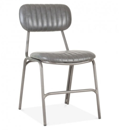 Hipster Leather Upholstered Metal Side Chair - Grey
