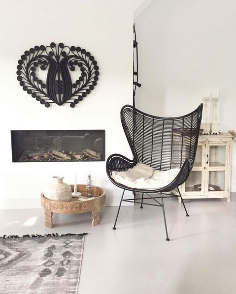 HK-Living Rattan Egg Chair Black