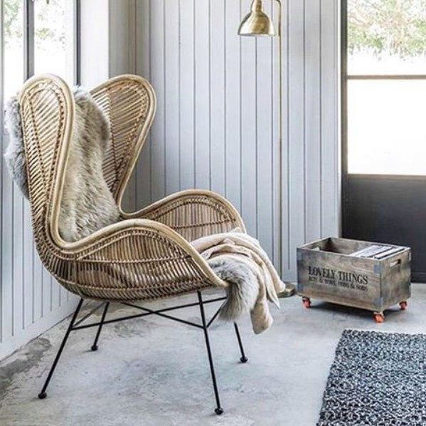 HK-Living Rattan egg chair natural bohemian