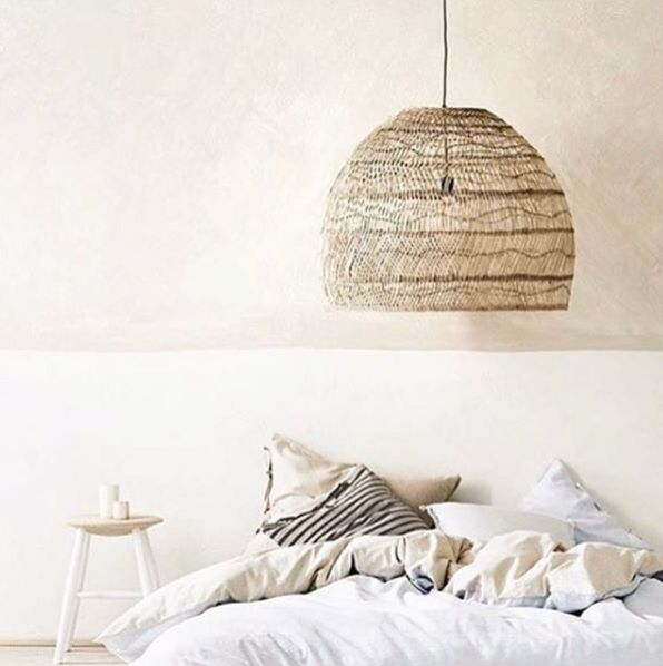 HK-Living wicker hanging lamp ball natural L