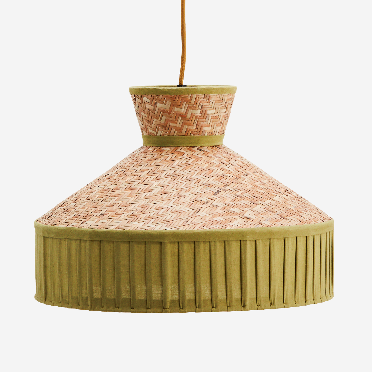 Cane Ceiling Lamp With Cotton Natural/Green- Madam Stoltz