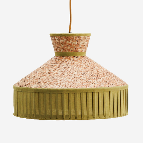 Floral Block Print Cotton Lampshade Rose/Mustard - Madam Stoltz