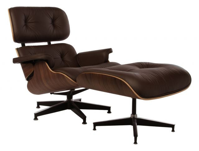 Eames Style Lounge Chair and Ottoman - Walnut & Brown Leather