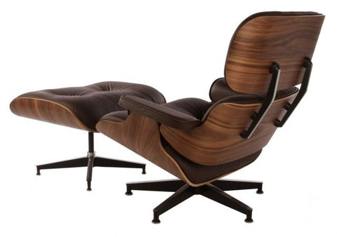 ... Eames Style Lounge Chair And Ottoman   Walnut U0026 Brown Leather ...