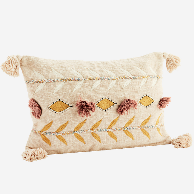 Embroidered Cushion Cover With Tassels