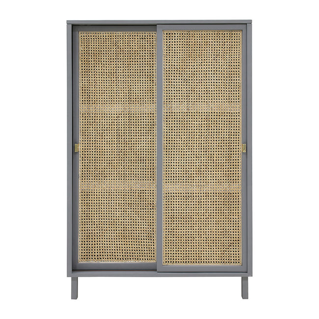 HK-Living Retro Webbing Cabinet Grey Sliding Door