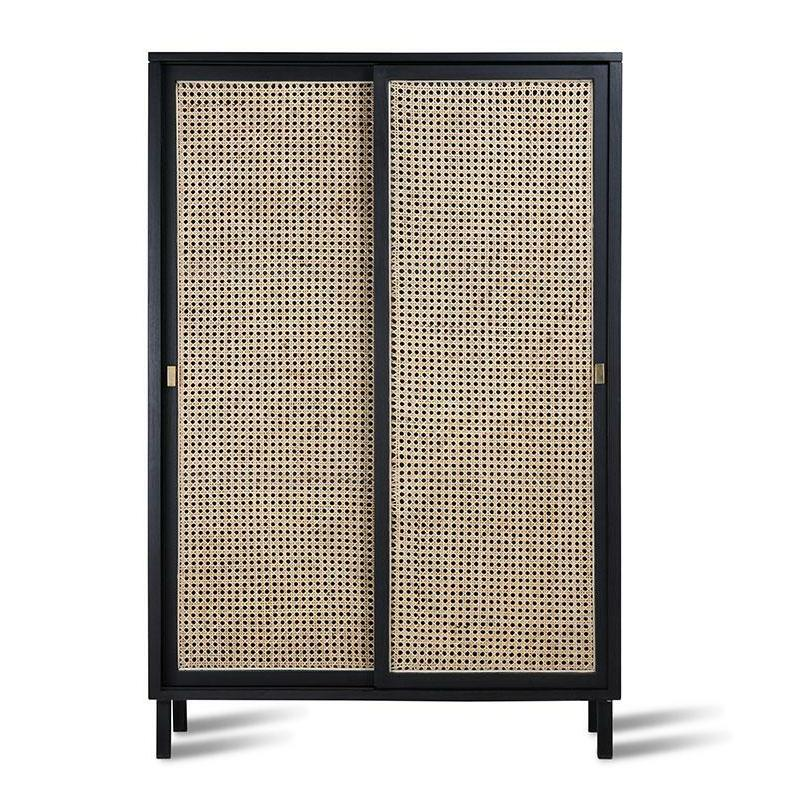 HK-Living Retro Webbing Cabinet Black Sliding Door
