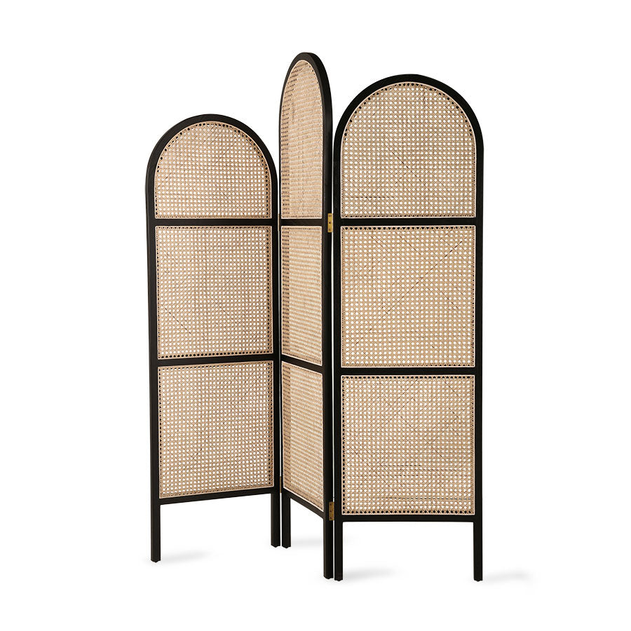 HK-Living Webbing Room Divider Black