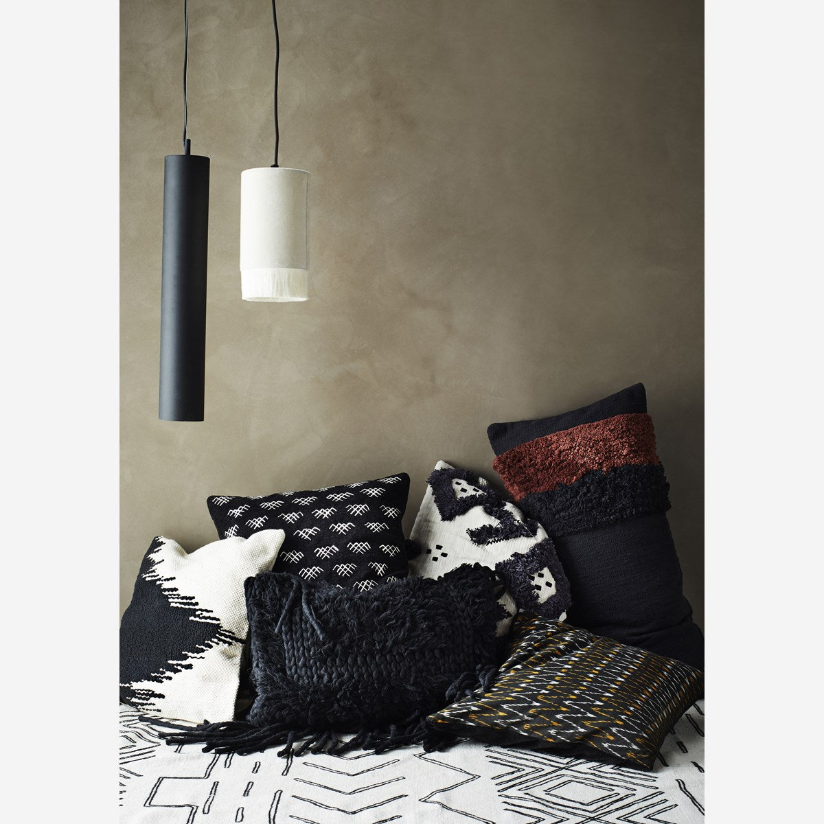 White Velvet Tube Ceiling Lamp - Madam Stoltz