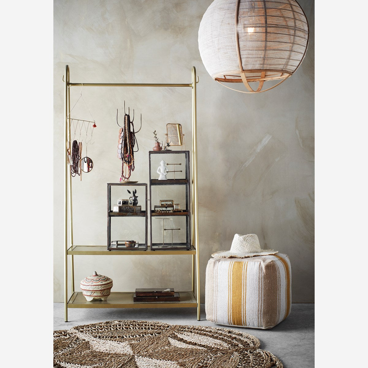 Bamboo Ceiling Lamp With Linen