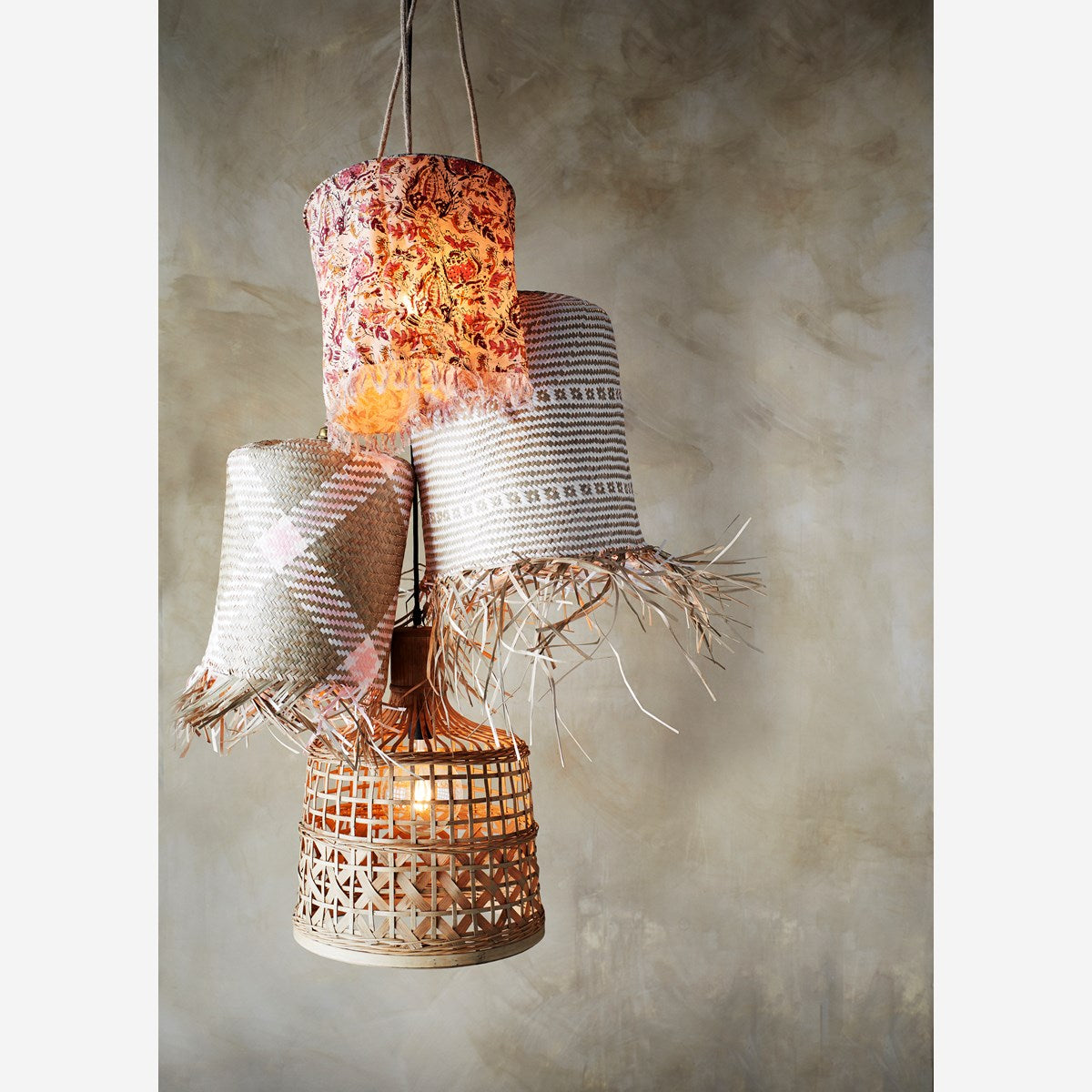 Seagrass Lamp Shade Natural, Pink, White