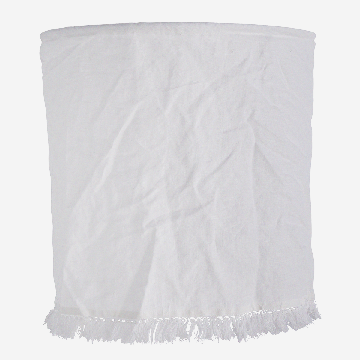 Linen Cotton Lampshade With Fringes White - Madam Stoltz