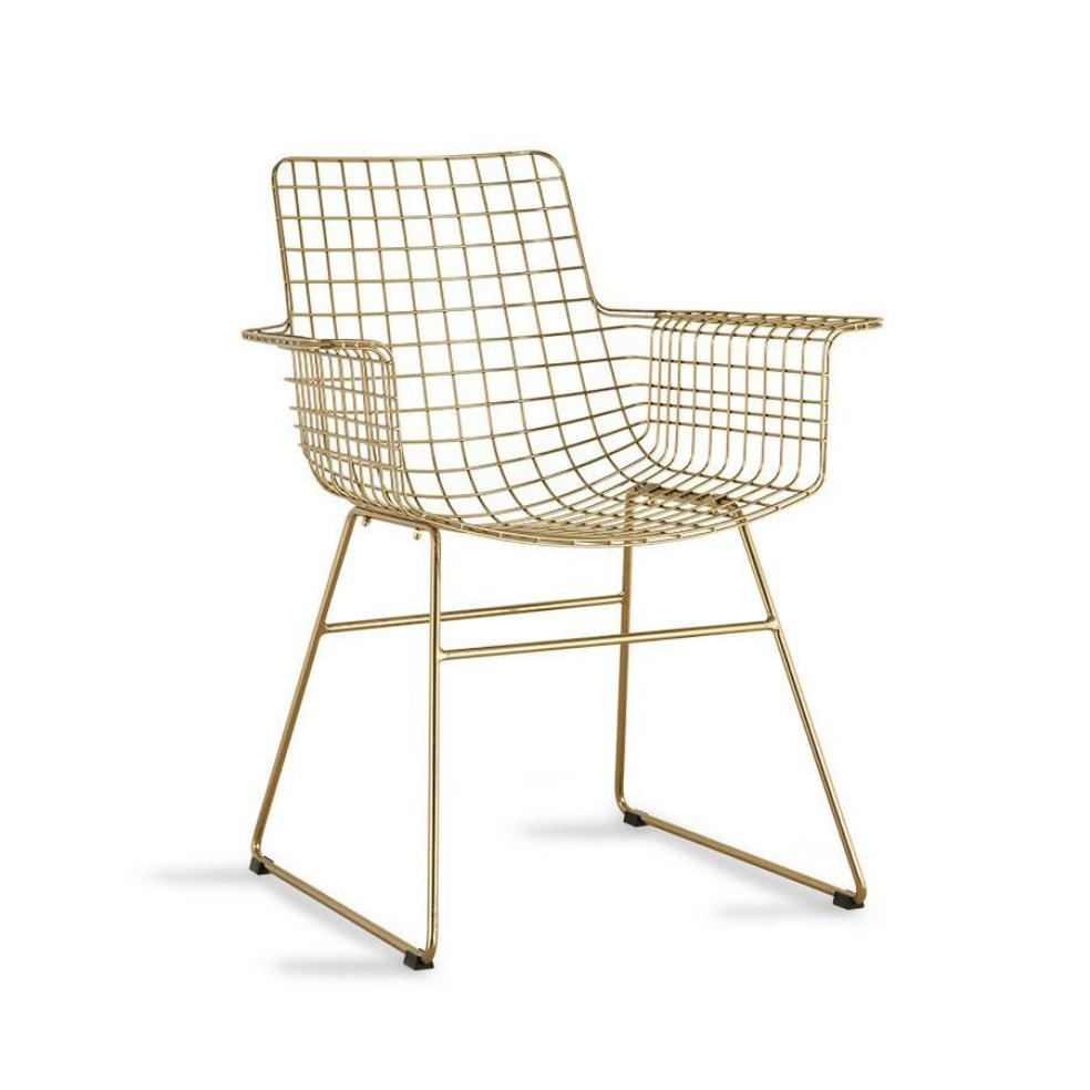 HK-Living Metal Wire Chair With Arms Brass