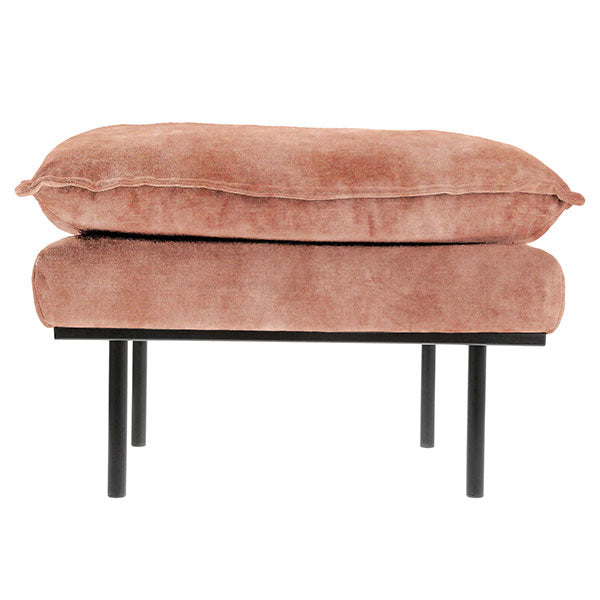 HK-Living Retro sofa stool- vintage velvet old pink
