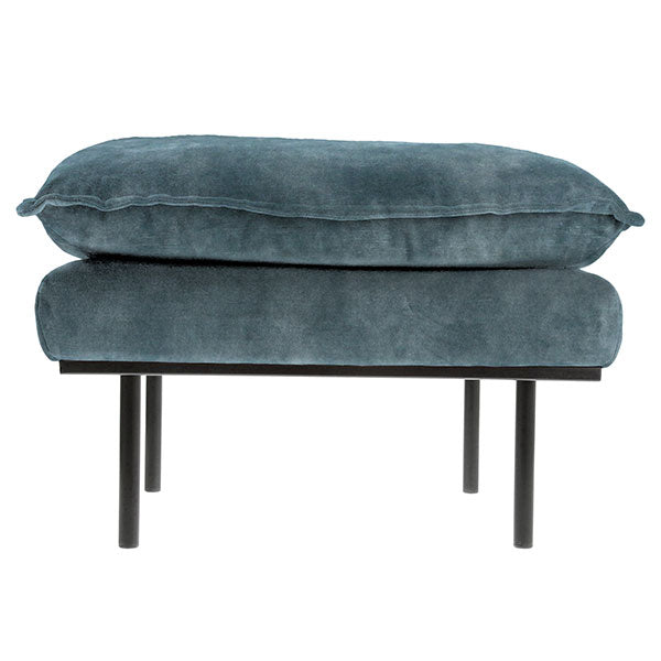 HK-Living Retro sofa stool- vintage velvet, petrol blue