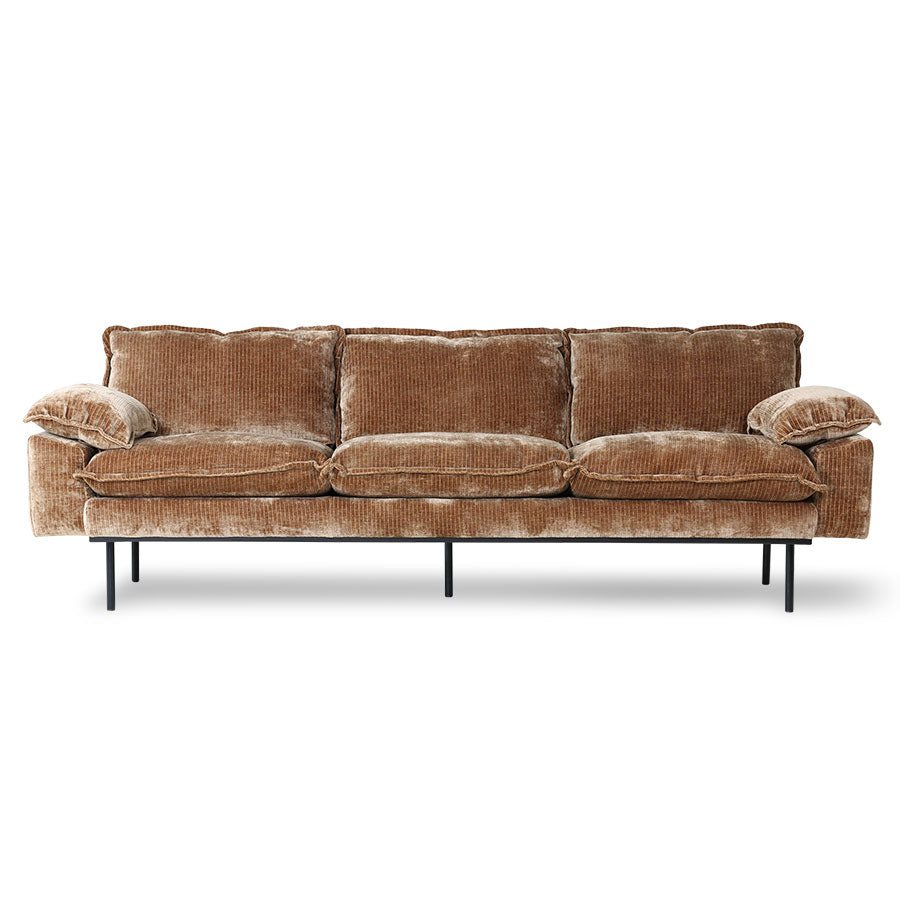 HK Living Retro Sofa 4-Seats, Velvet Corduroy Aged Gold