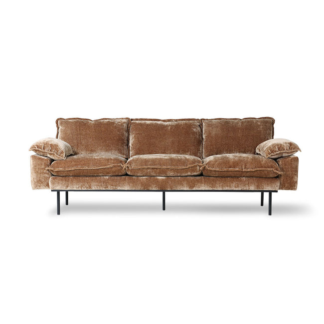 HK-Living Retro Sofa 3-Seats, Velvet Corduroy Aged Gold